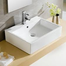 bathroom rectangular vessel sink with sleek and contemporary
