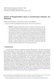 impact of fragmentation issue in construction industry an