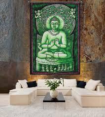 spiritual and religious wall tapestry handicrunch com buddha meditation olive green batik wall hanging tapestry