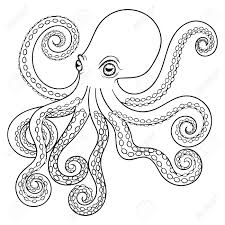 hand drawn tribal octopus animal totem for coloring page