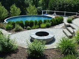 poolside fire pit and patio in florida ny landworx of ny