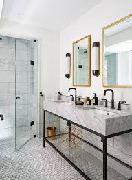 Matte Black Bathroom Faucet Black And White Bathroom With Gold Accents Transitional Bathroom