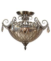 Antique Brass Pendant Light by Crystorama 269 Avery 17 Inch Wide Semi Flush Mount Capitol