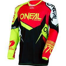 motocross jerseys new oneal 2018 mx gear hardwear flow true red hi viz dirt bike