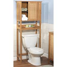 brown wooden bathroom cabinet with doors and shelf over white