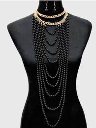 multi layered black necklace images Long big black gold pearl multi strand layered bead chunky jewelry jpg