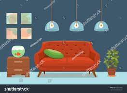 livingroom cartoon living room cozy interior colorful sofa stock vector 653252665