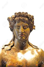 the detail of bronze statue of dionysus with grape vines in long