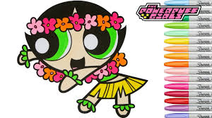 powerpuff girls coloring book buttercup hula dancer ppg cartoon