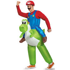 buy super mario bros mario riding yoshi inflatable costume for adults