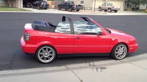 red volkswagen convertible vw cabrio gti custom car 18 inch tenzor r racing wheels candy