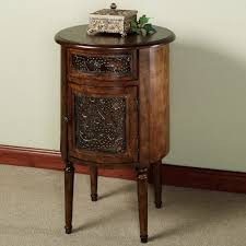 carved wood end table antique round end table with drawer round table ideas