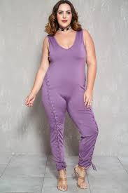 plus jumpsuit lavender sleeveless lace up front plus size jumpsuit