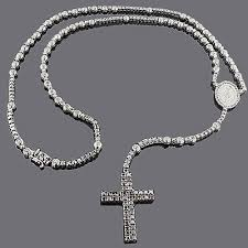 rosary necklaces black diamond rosary necklace chain 31 55ct