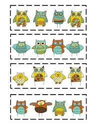 preschool printables owls pattern card printable chainimage