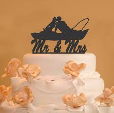 boat cake topper fishing in boat mr and mrs wedding cake topper