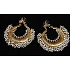 chandbali earrings pearly gold chand bali earrings