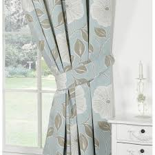 White Ready Made Curtains Uk Urban Living Poppy Duckegg Floral Pencil Pleat Readymade Curtains