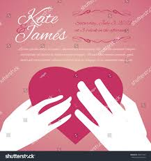 Background Of Invitation Card Woman Man Hands Heart Symbol Love Stock Vector 336971543