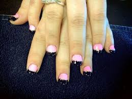 pink with black tips u0026 silver dots nail art gallery