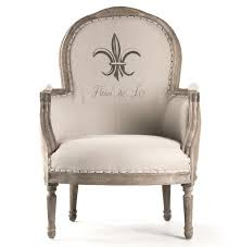 linen club chair tournon country fleur de lis burlap linen club chair