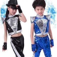 Hip Hop Halloween Costumes Girls Black Royal Blue Pu Leather Paillette Girls Kids Child Children