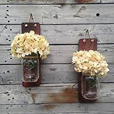 Wall Sconces For Flowers Amazon Com Rustic Hanging Mason Jar Sconces With Led Fairy Lights