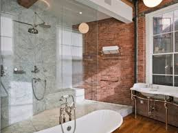 warm up your bathroom with exposed brick kitchen bath trends