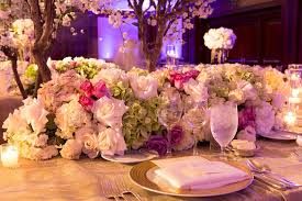 wedding reception table runners reception décor photos pink green white floral table runner