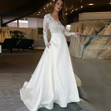 wedding dress with sleeves a line v neck sleeves sweep satin wedding dress with