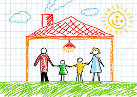 family and home drawing of family in house royalty free cliparts vectors and stock