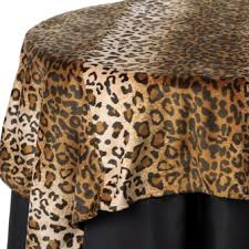 animal print table linen rentals