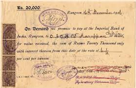 a 1926 promissory note from the imperial bank of india rangoon