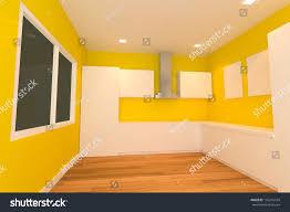 Empty Kitchen Empty Interior Design Kitchen Room Yellow Stock Illustration