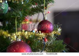retro image bauble on tree stock photo 720214810