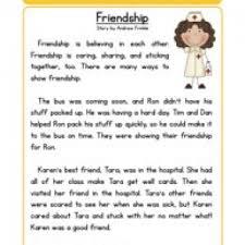 stories for comprehension friendship character reading comprehension worksheet