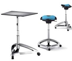 Portable Standing Laptop Desk by Dolpdhin Futuristic Metal Standing Office Desk And Seats