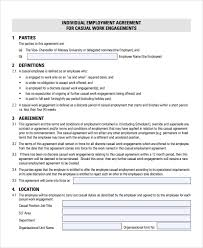 sample casual employment agreement 8 documents in pdf word
