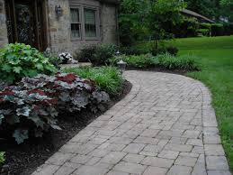outdoor and patio curved stone walkways designs for homes mixed