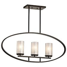 Linear Island Lighting by Kichler 43318oz Three Light Linear Chandelier Amazon Com