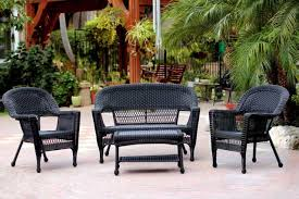 4 piece swann black resin wicker patio chair loveseat and table