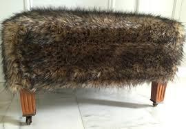 White Fur Ottoman by Man White Fur Storage Ottoman Stool Faux Cover 24573 Interior