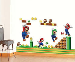 Super Mario Home Decor Super Mario Bros Boy Cartoon Wall Stickers Kids Rooms Vinly