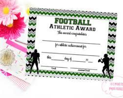 football certificate etsy