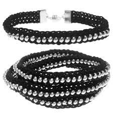 silver bead bracelet diy images Beaded flat kumihimo bracelet set black silver exclusive jpg