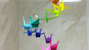 how to make a colorful origami crane mobile diy home tutorial