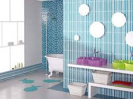 striped blue and small polkadot bathroom with mirrors and unique