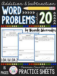 addition u0026 subtraction word problems within 20 practice sheets tpt