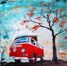 volkswagen van with surfboard clipart 1970 red volkswagen camper bus painting by sheri wiseman camping