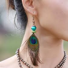 peacock feather earrings peacock feather earrings bohemian earrings festival earrings women